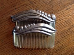 Two Vintage Matching Silver Hair Combs | eBay