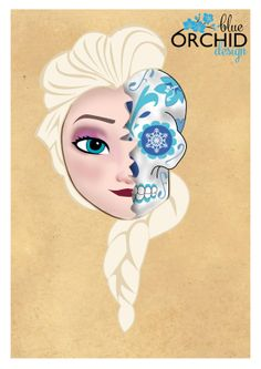 Disney Princess Elsa Sugar Skull A4 210mm by BlueOrchidDesignsNZ, $30.00
