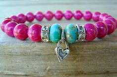 Beaded Bracelet/ Stretch Bracelet. Pink and by BeJeweledByCandi, $31.00