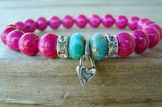 Beaded Bracelet/ Stretch Bracelet. Pink and by BeJeweledByCandi, $31.00