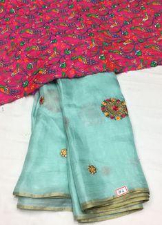 Lenin Georgette Silk Saree with Designer blouse Silk Saree Banarasi, Pure Georgette Sarees, Georgette Dresses, New Saree Designs, Saree Blouse Designs, Saree Color Combinations, Color Combos, Kids Saree, Peach Color Saree
