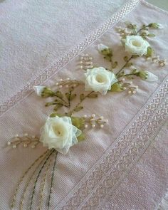Wonderful Ribbon Embroidery Flowers by Hand Ideas. Enchanting Ribbon Embroidery Flowers by Hand Ideas. Silk Ribbon Embroidery, Embroidery Stitches, Embroidery Patterns, Hand Embroidery, Diy Ribbon, Ribbon Work, Ribbon Crafts, Towel Crafts, Rose Decor