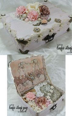 Create For sharon Shabby Chic Crafts, Vintage Crafts, Vintage Shabby Chic, Shabby Chic Decor, Decoupage Suitcase, Suitcase Table, Vintage Suitcases, Vintage Luggage, Altered Boxes