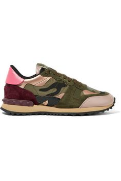 Rubber sole measures approximately 25mm/ 1 inch Multicolored canvas and leather, army-green and burgundy suede Lace-up front Made in Italy