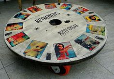 DIY Idea Wooden Reel / Spool (low) Spinning Coffee Table. With Decoupaged Retro Magazine Pictures.