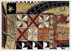 Ulu manu folau by Fatu Feu'u Moana, Samoan Patterns, Auckland Art Gallery, Tapas, Polynesian Art, New Zealand Art, Jr Art, Hawaiian Art, Collaborative Art
