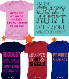 BODYSUIT CRAZY AUNTIE ETC MESSAGE ME for a different FAMILY MEMBER £4.99