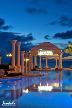 Watch the sun set by the pool at Sandals Royal Bahamian. Best All Inclusive Resorts, Beach Resorts, Honey Moons, Sandals Beach Resort, Royal Bahamian, Places To Travel, Travel Destinations, Bahamas Vacation, Romantic Places