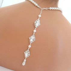 Backdrop necklace bridal pearl necklace wedding by treasures570
