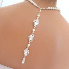 Backdrop necklace bridal pearl necklace wedding by treasures570