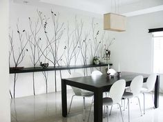 Dining room accent wall. Black and white.
