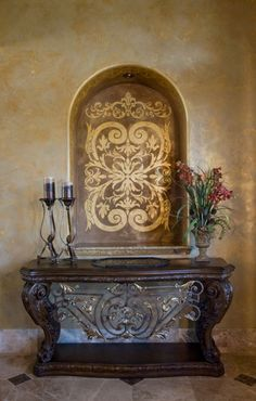 .Awesome niche by Dee Ann O'Neal. Niche Decor, Art Niche, Tuscan Design, Tuscan Style, Tuscan Decorating, Interior Decorating, Decorating Ideas, Tuscany Decor, Faux Walls
