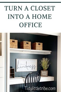 How To Turn A Closet Into A Home Office How to turn a regular closet into a warm and cozy office space. Closet Turned Office, Home Office Closet, Hallway Office, Office Shelf, Guest Room Office, Home Office Design, Home Office Decor, Office Furniture, Office Ideas