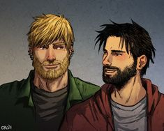 an older and scruffier Hulkling and Wiccan! Aww, Chris-Art is amazing...