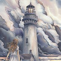 Seascape Paintings, Landscape Paintings, Watercolor Landscape, Watercolor Paintings, Lighthouse Pictures, Lighthouse Painting, Thomas Kinkade, Nautical Art, Beach Art