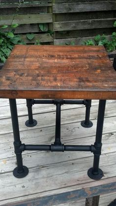 Pipe Leg Table Industrial Pipe Leg Table With Distressed