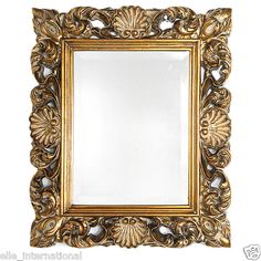 Gold Leafed Shells & Scrolls Wall Mirror with Beveled Glass New Free Shipping