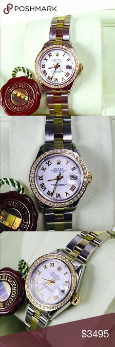 Rolex date just 26mm ladies model 6917 two tone Used ladies datejust rolex model 6917 26mm with white Roman dial and custom diamond bezel .90ct of high quality diamonds. 1 year warranty with our store D.W.O Rolex Jewelry Bracelets
