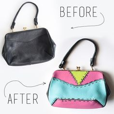Turn a boring thrifted purse into a DIY bright one of kind style masterpiece!!