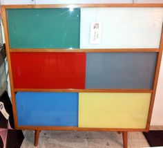 Mid 20th Century Atomic glass fronted cabinet