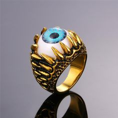 U7® Shop Anniversary ! Only 3 days' Sale ! Evil Eye Ring 316L Stainless Steel Party Fashion Jewelry Blue Eye Punk Men Jewelry Bands Ring R348