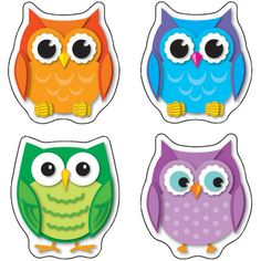 Colorful Owls Shape Stickers,