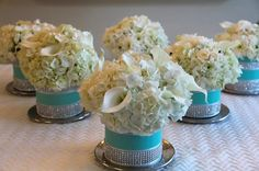 Tiffany Blue floral arrangement for a (my sister's) Tiffany's themed Baby Shower