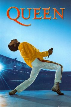 Queen & Freddie Mercury posters: Queen poster featuring Freddie Mercury live on stage at Wembley. This Queen poster shows Freddie on stage in trademark stage outfit in mid song. Queen Freddie Mercury, Freddie Mercury Tattoo, Queen Poster, Poster S, Selena Quintanilla Perez, John Deacon, Ozzy Osbourne, Music Is Life, My Music