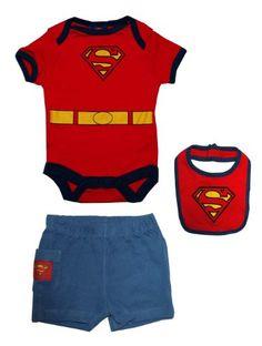 Superman DC Comics Superhero Embroidered Logo Baby Romper Pants And Bib 3 pc Set $16.99