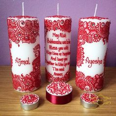 Wedding Candle Set ~ Perfect For Every Couple ❤️ Henna Candles, Diy Candles, Pillar Candles, Natural Candles, Leh, Candle Set, Henna Art, Basket Ideas, Stone Art
