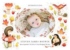 Hedgehog - Birth Announcement Card #announcements #printable #diy #template #birth #baby #birthannouncements