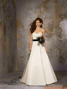 robe de mariée satin avec ceinture fleur ceinture robe de pas cher ...