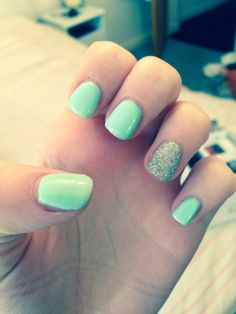 Mint green and silver sparkle gel shellac nails
