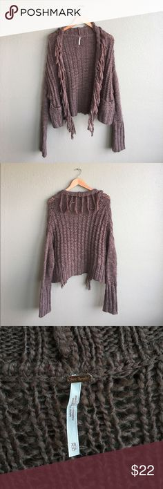 Free People Brown Fringe Sweater No trades! FAIR/GOOD CONDITION! This has been loved and has fuzzing/pilling but otherwise no flaws. Light brown. Size XS. Free People Sweaters Cardigans