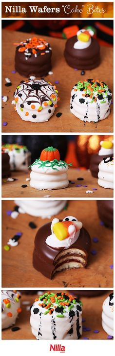 An adorable mini bite sized cake: perfect for your Halloween party! Layer Nilla Wafers with jam or chocolate then cover in melted chocolate for a delicious dessert. You can add sprinkles or other deco (Halloween Dessert Recipes) Holiday Cakes, Holiday Desserts, Holiday Baking, Holiday Treats, Just Desserts, Delicious Desserts, Dessert Recipes, Snacks Recipes, Party Recipes