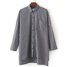 Gingham Plaid Drop Shoulder Slit Side High Low Shirt (655 MXN) ❤ liked on Polyvore featuring tops, gingham top, slit sleeve top, long tops, long slit shirt and blue plaid shirt