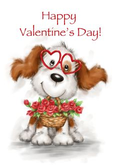 Cute dog wearing heart shaped eyeglasses with roses, Happy Valentine's card Happy Birthday Mom, Happy Birthday Images, Baby Animal Drawings, Cute Drawings, Happy Mother's Day Card, Happy Mothers Day, Happy Valentines Day Mom, Dog With Glasses, Cute Animal Illustration