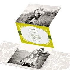 You'll fall in love all over again when you see these elegant trifold wedding invitations showcasing two of your favorite photos at the top and bottom. #weddinginvitations #wedding #peartreegreetings