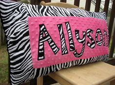 Personalized Pink and Zebra Print Pillow by SweetSamantha on Etsy
