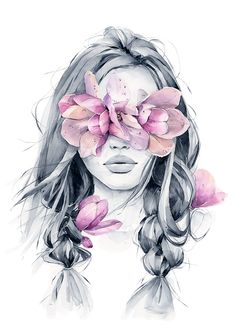 Wild magnolia blindfolded girl from my wall art print collection. Great for framing and room decor. Kreative Portraits, Art Du Croquis, Bright Art, Art Drawings Sketches, Portrait Art, Art Girl, Watercolor Paintings, Watercolour Tattoos, Watercolor Portraits