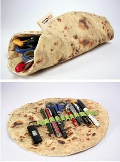 Tortilla pencil case! use cream/tan wool felt and scorch it? like mom's placemats from long ago.