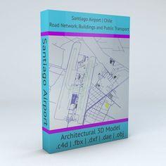 Santiago SCL Airport Roads Buildings   3D model