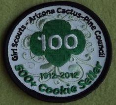 Girl Scouts Arizona Cactus-Pine 100th Anniversary patch. Girl Scouts Arizona Cactus-Pine, 100, 500+ Cookie Seller