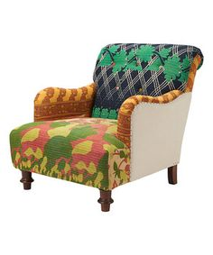 Look what I found on #zulily! Navy & Green Kantha Quilt Armchair by ACG Green Group #zulilyfinds