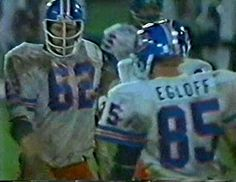 Guard TOM GLASSIC (62) and tight end RON EGLOFF (85)--September 11, 1978