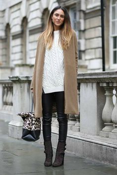 textured white sweater, coated skinnies and camel coat