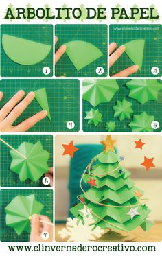 Christmas origami with circles. Christmas Activities, Christmas Crafts For Kids, Christmas Projects, Handmade Christmas, Holiday Crafts, Christmas Decorations, Christmas Ideas, Christmas Origami, Noel Christmas