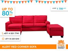 Furnish Your Home in style with this contemporary and vivid Alert corner sofa. It provides a family-friendly alternative to the traditional sofa that can fit any modern or contemporary living space. The chaise is reversible that makes it ideal if You need a quick renovation. The sofa also features an additional storage compartment upholstered in red polyester linen fabric too.  More details: http://gtfshop.com/alert-red-corner-sofa