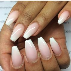 Nude/White ombré nails