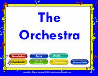 Orchestra SMARTBoard Lesson. This is a resource file with links to performance videos, facts, sound samples. Explore the seating arrangement, the job of the conductor, practice conducting in 3 and 4, etc, Filled with links to amazing children performing. Also, a STAND UP Orchestra Project is included. Enough material for many weeks of study. Kid-tested... it's cool!